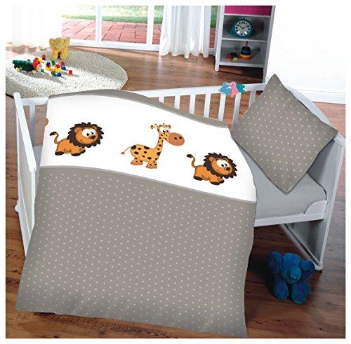 kinder baby bettw sche baumwolle 100x135cm kissenbezug 40x60cm giraffe l we. Black Bedroom Furniture Sets. Home Design Ideas