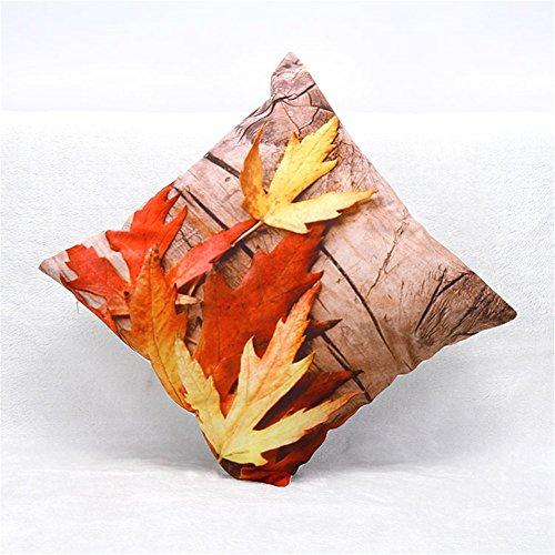 NITAN kurze Plüsch Dekokissen Fall Quadratisch Sofa Haus Auto Dekorative Kissenbezug Kissenhülle 45 x 45cm – 3D Herbst rot Ahornblatt