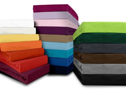 klassisches Jersey Spannbetttuch – erhältlich in 20 modernen Farben und 6 verschiedenen Größen – 100% Baumwolle, 120 x 200 cm, apfelgrün