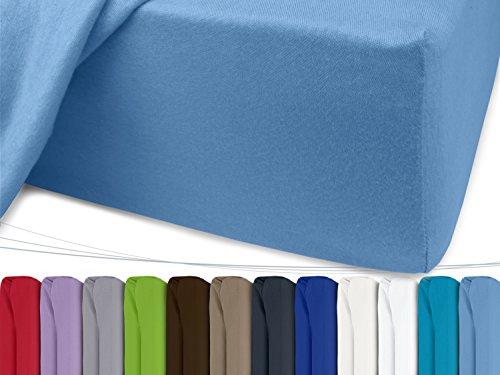 Jersey Spannbetttuch in unseren besten Farben aus 100% Baumwolle – in 5 Größen erhältlich, 120 x 200 cm, hellblau