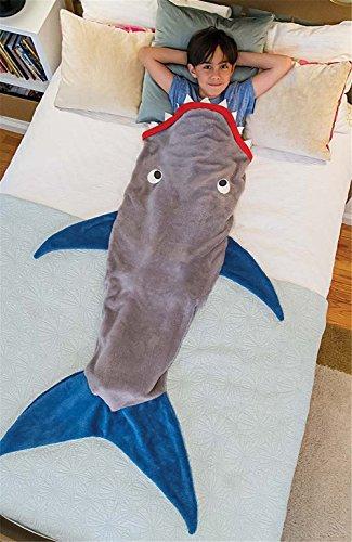 LikeepTM Kinder Meerjungfrau U2013 Decke Schlafsack Kuschelige Flauschedecke  Und Hai Tagesdecke Blanket (Hai Grau)